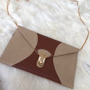 Faux Leather Envelope Clutch/Crossbody Bag